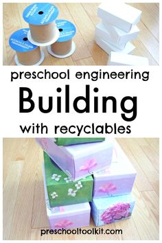 Preschoolers think like engineers as they stack and build with recyclables. Choose from a variety of household packaging items to create structures with hands-on play. #homemadetoys #handsonlearning