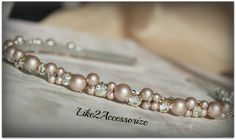 Light Champagne Brown Swarovski Pearl Headband Bridal Tiara Headband Wedding Jewelry Bridal Head Piece Rhinestones Pearl Wedding Headband by Like2Accessorize on Etsy https://www.etsy.com/listing/123248363/light-champagne-brown-swarovski-pearl