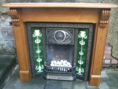 Victorian Style Cast Iron Fireplace with Floral Tiles, Wood Surround & Gas Fire Cast Iron Fireplace, Home Fireplace, Fireplace Ideas, Fireplaces, Home Decor Dyi, Decor Ideas, Simply Beautiful, Beautiful Things, Art Nouveau