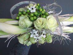 bruidsboeket - hypericum, rozen, calla, tylansia,ornithogalum - flowered by falenopsis boechout