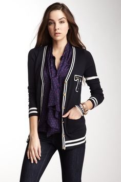"""Tommy Girl """"Varsity Stripe Cardigan""""."""