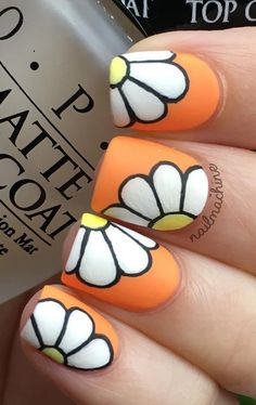 flower-nail-art - 50 Flower Nail Art Designs <3 <3