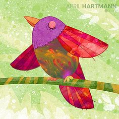 Spring Bird - art by April Hartmann -This work is available for licensing. Please contact for more information. Spring Birds, Bird Art, Service Design, Childrens Books, Pikachu, Abstract Art, Greeting Cards, Texture, Heart