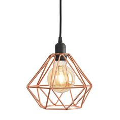 Copper Geometric Diamond Metal Cage Ceiling Pendant Light in Home, Furniture & DIY, Lighting, Ceiling Lights & Chandeliers | eBay