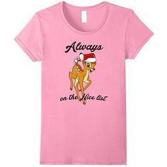 Disney Bambi Christmas Nice List T Shirt ($20) ❤ liked on Polyvore featuring tops, t-shirts, christmas tee, disney tees, christmas tops, pink t shirt and disney