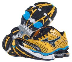 Mens Mizuno Wave Creation 13 Running Shoes Size 10 Yellow Black Blue