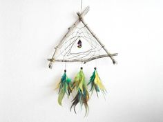 Dream Catcher - Green Triangle - With Rainbow Colorful Crystal, Green, Yellow and Blue Feathers and Wooden Frame