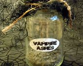 """OOAK """"Vampire Ashes"""" Halloween Labeled Potion/Lab/Witch Jar"""