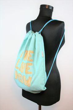 READY TO SHIP - drawstring bag summer bag sports bag string bag rowing bag - scull, oar, rower - turquise, gold by BagitBag on Etsy