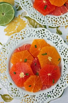 This Honey Mint Citrus Salad is the perfect bright, refreshing winter fruit salad! Just 132 calories or 1 Weight Watchers SmartPoints! www.emilybites.com