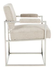 Inspired by vintage modern designs, this contemporary velvet arm chair pairs clean lines and luxurious details. Ideal for the living or dining area, its hemingway silver upholstery and silver metal frame create a style that speaks to minimalists and maximalists.