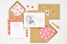 Red, White, and Kraft Floral Letterpress Baby Announcements via Oh So Beautiful Paper: http://ohsobeautifulpaper.com/2014/07/penelopes-floral-letterpress-baby-announcements/ | Announcement + Photo: Lauren Chism