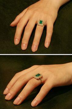 Colombian emerald ring diamond Art Deco by adinantiquejewellery