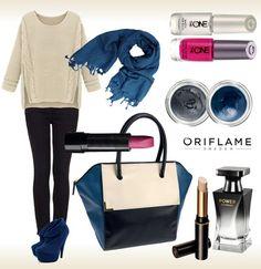 Un #look en azul y negro perfecto para este recién estrenado #Otoño!!  Las #uñas y los #labios en rosa son el complemento perfecto para aportarle un toque de alegría!! Solicita aquí tu #CatálogoGratis y en unos días lo recibirás en tu casa!! http://mundobellezatotal.blogspot.com.es/p/hazte-vip.html