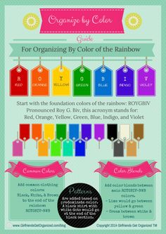 Organize your clothes by Color of the rainbow. Free printable.