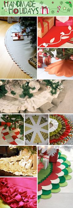 DIY - Handmade Christmas Tree Skirt Tutorials-along with two more FULL pages of great ideas.