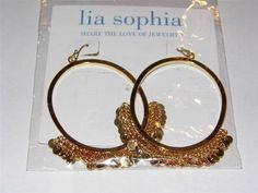 Lia Sophia gold tone dangle hoop earrings  starting bid $5.00