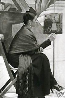 Frida Kahlo wearing a traditional Mexican rebozo