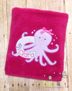 Monogrammed Beach Towel Octopus Applique Towel by HaydenandJules