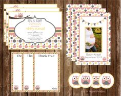 It's A Girl Owl Theme Baby Shower Invitation and Kit
