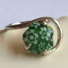 Silver Millefiori Cocktail Ring Plated Murano Style Glass Flowers Size 6.5 Green #Handmade #Cocktail