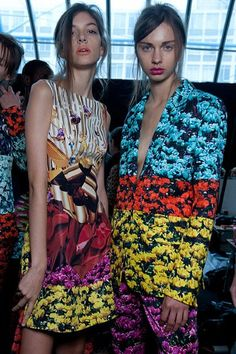 Mary Katrantzou layered her digital prints resulting in a bright rainbow of colourful flowers.