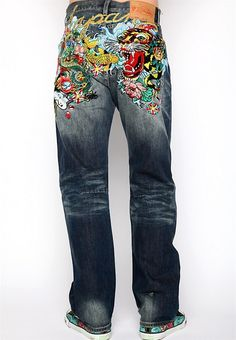 Ed Hardy Mens Denim Japan Embroidered Patch Jeans in Grindhouse Wash