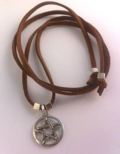 Pentagram suede necklace wrap bracelet or by forgetmenotwishes