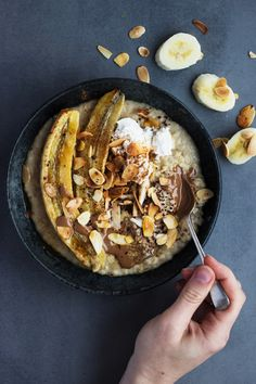 Tahini Porridge with Roasted Banana Toasted Almonds
