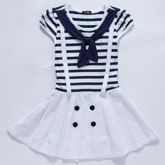 Free Shipping 2013 Little Girl Summer Dress Children Cotton Striped Dress Preppy Style Dress Kids Navy Style Dress K0870