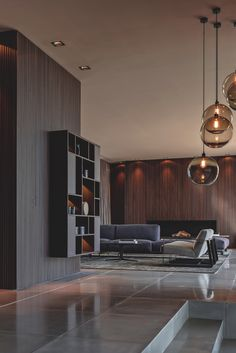 accent lights, contrast between rooms and dramatic shelving, a little bit dark for me though