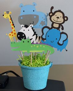 8 pc. Safari, Zoo, Animal themed Centerpiece, Monkey, Zebra, Elephant, Giraffe, Alligator and Hippo on Etsy, $28.00