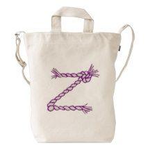 Custom Letter Z Initial Purple Monogram Duck Bag Duck Canvas Bag