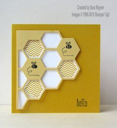 Honeycomb hello card, using supplies from Stampin' Up! www.craftingandstamping.com #stampinup