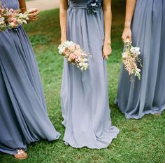 Dusk blue ombre Bridesmaid's dresses #wedding #fashion
