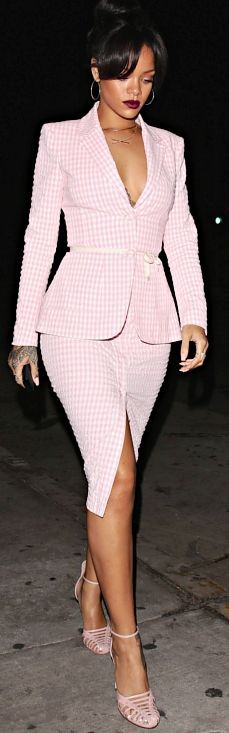 Pink And White Gingham Office Suit