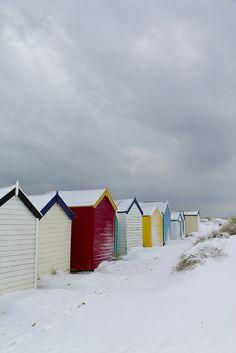Beach huts, snow by Adnams, via Flickr