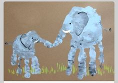 Cute mom child hand print picture of elephants