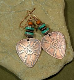 Turquoise Earrings  Etched Copper Jewelry  by ...