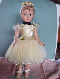 Madame Alexander Used Hard Plastic Mint Nina Ballerina Doll in Yellow Mint | eBay