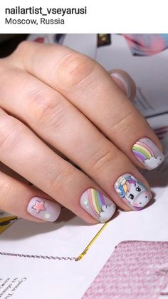 Installation of acrylic or gel nails - My Nails Girls Nail Designs, Nail Art Designs, Cute Nails, My Nails, Mickey Nails, Unicorn Nail Art, Nail Art For Kids, Animal Nail Art, Minimalist Nails