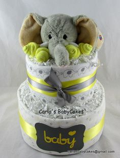 Elephant diaper cakeGrey and Yellow Baby by MsCarlasBabyCakes, $50.00