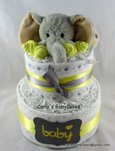 Elephant diaper cakeGrey and Yellow Baby by MsCarlasBabyCakes, $50.00