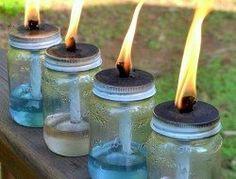 Perfect Backyard Lighting Landscape Tips For The Family Uses For Mason Jars, Mason Jar Drinks, Mason Jar Crafts, Mason Jar Diy, Citronella Candles, Oil Candles, Candle Jars, Citronella Oil, Diy Mosquito Repellent
