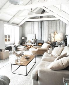 The farmhouse living room is more than just a classic style with barn doors and shiplap. In fact, there are many things you can do to refresh your space. The idea of the farmhouse living room is about creating a… Continue Reading → Modern Farmhouse Living Room Decor, Coastal Living Rooms, My Living Room, Home And Living, Living Spaces, Rustic Farmhouse, Cozy Living, Coastal Cottage, Farmhouse Style