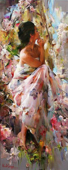 Michael Garmash, beautiful romantic lady painting, with flowers. Please also visit www.JustForYouPropheticArt.com for colorful inspirational Prophetic Art and stories. Thank you so much! Blessings!