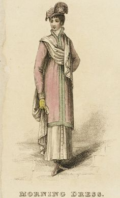 Morning Dress, fashion plate, hand-colored engraving on paper, published London, April 1813.