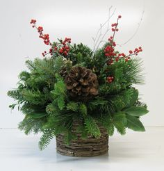 Winter Woodland Stacked Birch Arrangement - NEW! Christmas Planters, Christmas Greenery, Christmas Table Decorations, Christmas Candles, Rustic Christmas, Merry Christmas To All, Christmas Holidays, Christmas Items, Christmas Flower Arrangements