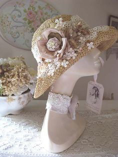 Summer Romance Floppy Hat – Kim Wadlow Skaggs – Join in the world of pin Tea Hats, Tea Party Hats, Tea Party Attire, Victorian Hats, Art Textile, Fancy Hats, Love Hat, Summer Hats, Summer Time