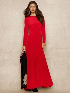 Long-Sleeved Silk Dress - Red